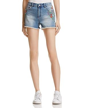 Banjara Floral Embroidered Denim Shorts