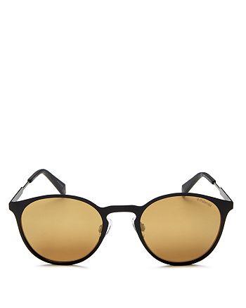 Polaroid - Men's Mirrored Round Keyhole Sunglasses, 49mm