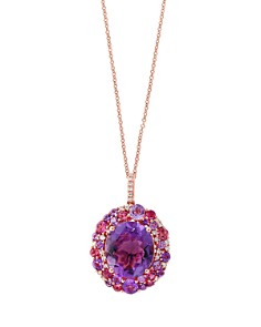 """Amethyst, Pink Tourmaline and Diamond Pendant Necklace in 14K Rose Gold, 18"""" - 100% Exclusive - Bloomingdale's_0"""