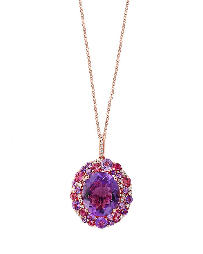 """Bloomingdale's - Amethyst, Pink Tourmaline and Diamond Pendant Necklace in 14K Rose Gold, 18"""" - 100% Exclusive"""