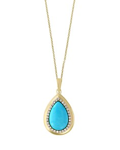 """Turquoise and Diamond Halo Teardrop Pendant Necklace in 14K Yellow Gold, 18"""" - 100% Exclusive - Bloomingdale's_0"""