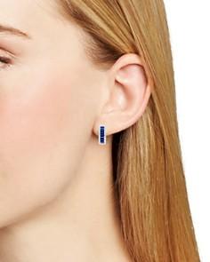 Bloomingdale's - Blue Sapphire and Diamond Hoop Earrings in 14K White Gold - 100% Exclusive