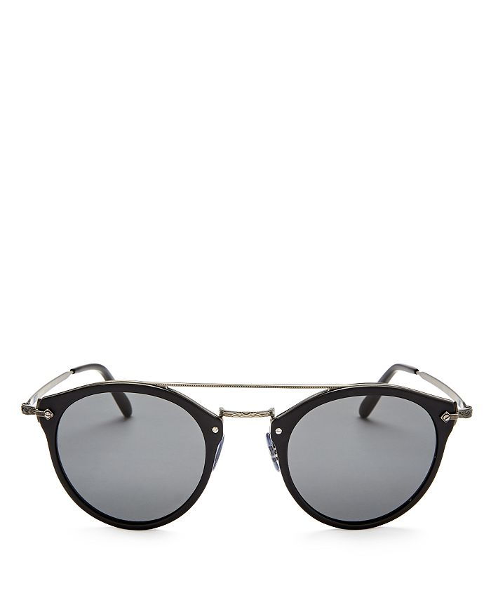 Oliver Peoples - Men's Remick Brow Bar Round Sunglasses, 49mm