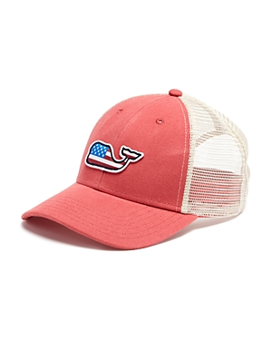 91354f5639e Vineyard Vines Whale Flag Patch Trucker Hat In Jetty Red