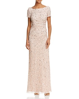 Adrianna Papell - Beaded Cowl-Back Gown