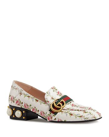 Gucci - Women's Embellished Mid Heel Loafers