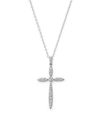 Bloomingdale's - Diamond Cross Pendant Necklace in 14K White Gold, .50 ct. t.w. - 100% Exclusive