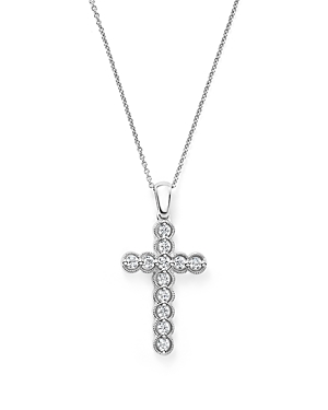 Diamond Bezel Set Cross Pendant Necklace in 14K White Gold, .25 ct. t.w. - 100% Exclusive