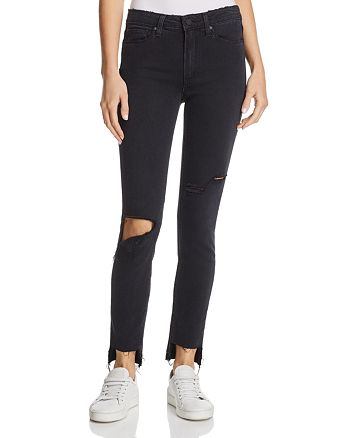 PAIGE - Hoxton Step-Hem Skinny Ankle Jeans in Black Sky Destructed - 100% Exclusive