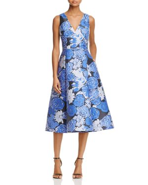 Adrianna Papell Floral V-Neck Midi Dress