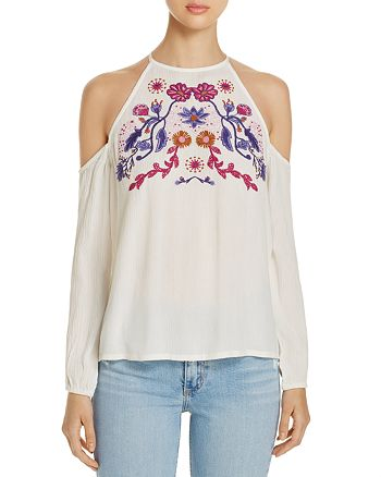 JACHS Girlfriend - Cold Shoulder Embroidered Top