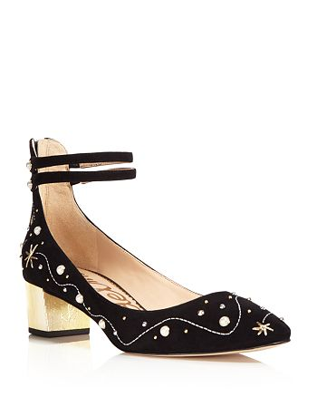 Sam Edelman - Women's Lucien Embroidered Pearl Stud Ankle Strap Pumps - 100% Exclusive