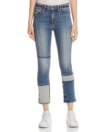 PAIGE - Jacqueline Seamed Straight Crop Jeans in Saratoga - 100% Exclusive