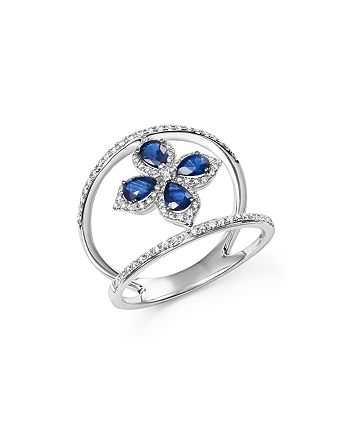 Bloomingdale's - Sapphire and Diamond Flower Ring in 14K White Gold - 100% Exclusive