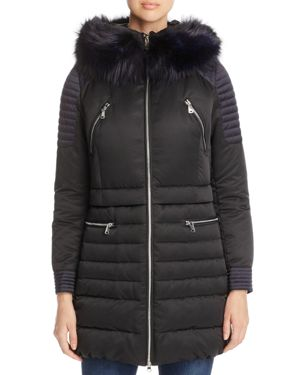 Maximilian Furs Fox Fur Trim Hooded Down Coat - 100% Exclusive
