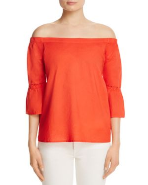 Red Haute Off-The-Shoulder Bell Sleeve Top