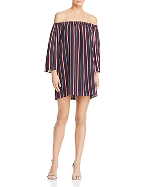 French Connection Hasan Stripe Off-the-Shoulder Dress