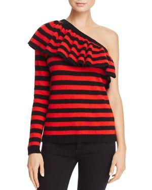 Aqua One-Shoulder Ruffled Sweater - 100% Exclusive