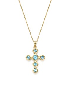 """Bloomingdale's - Blue Topaz Cross Pendant Necklace in 14K Yellow Gold, 18"""" - 100% Exclusive"""