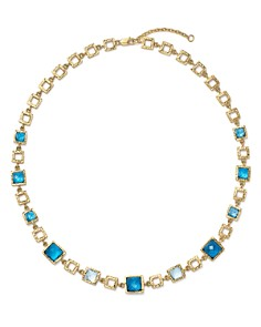 "Bloomingdale's - London Blue and Swiss Blue Topaz Geometric Necklace in 14K Yellow Gold, 16.5"" - 100% Exclusive"