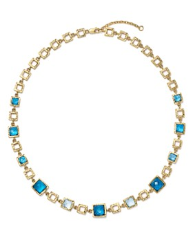 """Bloomingdale's - London Blue and Swiss Blue Topaz Geometric Necklace in 14K Yellow Gold, 16.5"""" - 100% Exclusive"""