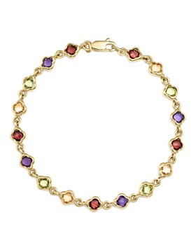 Bloomingdale's - Multi Gemstone Small Clover Bracelet in 14K Yellow Gold - 100% Exclusive