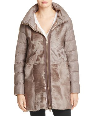 Herno Shearling & Metallic Coat