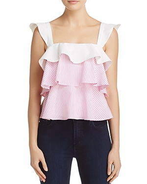 Lucy Paris Striped Ruffle Top - 100% Exclusive