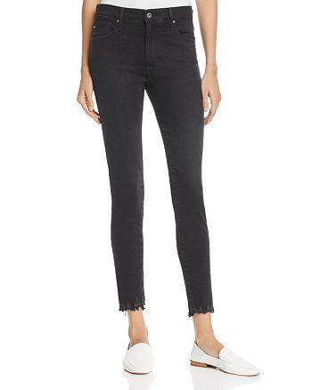 AG - Farrah Destroyed Hem Skinny Ankle Jeans in Black Storm