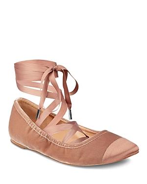 Sigerson Morrison Charlotte Velvet Ankle Wrap Ballet Flats