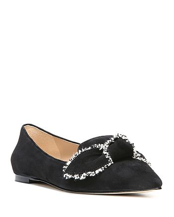 917eb59c4183a Sam Edelman - Women s Rochester Suede Pointed Toe Bow Flats