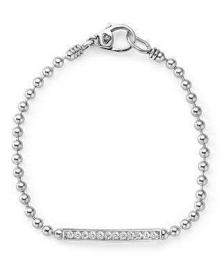 LAGOS Sterling Silver Caviar Spark Diamond Bar Chain Bracelet in Silver/ Diamond
