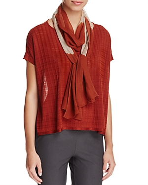 Eileen Fisher Color-Block Silk Scarf at Bloomingdale's
