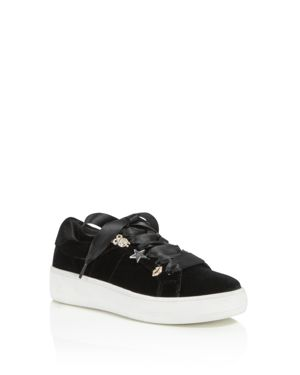 Steve Madden Girls' Ribbon Lace-Up Velvet Sneakers - Little Kid, Big Kid