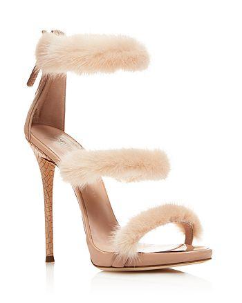 Giuseppe Zanotti - Women's Triple Band Mink Fur High-Heel Sandals