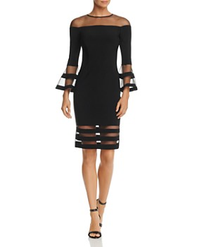 ed564977c1e Avery G - Illusion-Neck Bell Sleeve Dress ...
