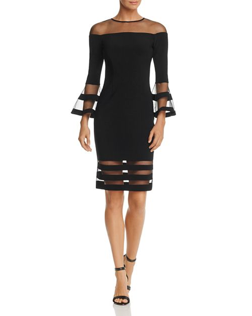 Avery G - Illusion-Neck Bell Sleeve Dress