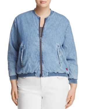 Lucky Brand Plus Denim Bomber Jacket