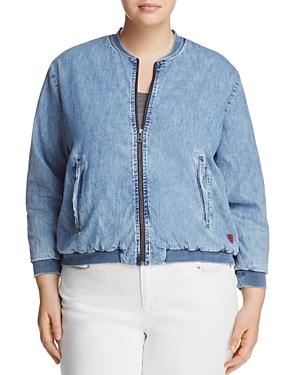 Lucky Brand Plus Denim Bomber Jacket