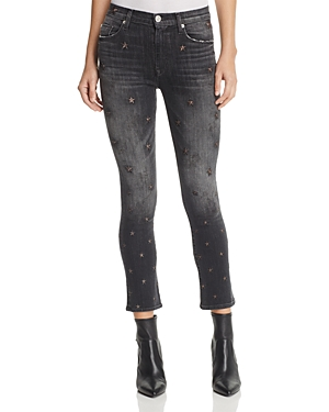 Hudson Harper Star-Embroidered Skinny Jeans in Night Star