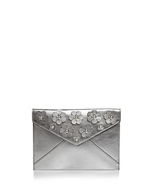 Rebecca Minkoff Leo Floral Applique Metallic Leather Clutch
