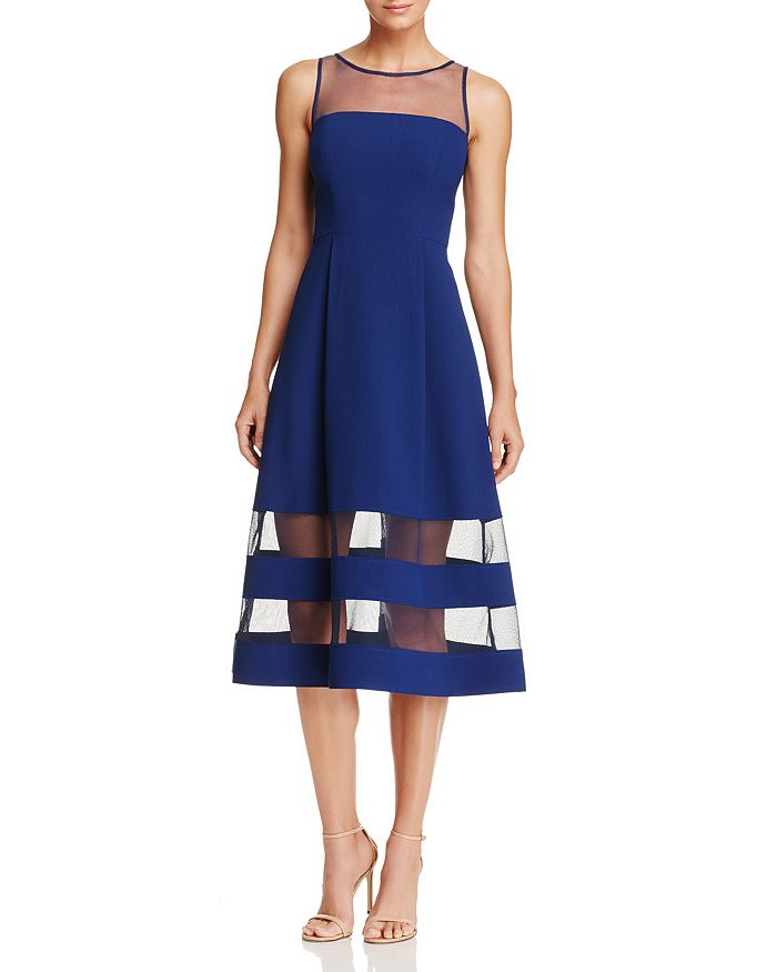 Aidan by Aidan Mattox - Illusion Fit-and-Flare Dress