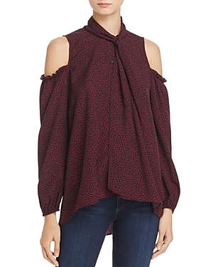French Connection Callie Crepe Cold-Shoulder Top