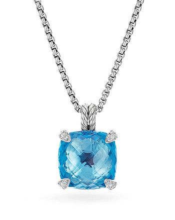David Yurman - Châtelaine Pendant Necklace with Blue Topaz and Diamonds