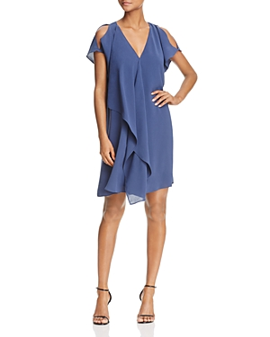 Adrianna Papell Ruffle Cold-Shoulder Dress