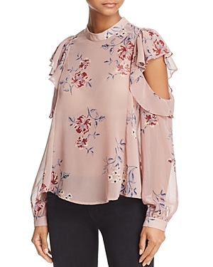 Astr Chantelle Ruffled Cold-Shoulder Top