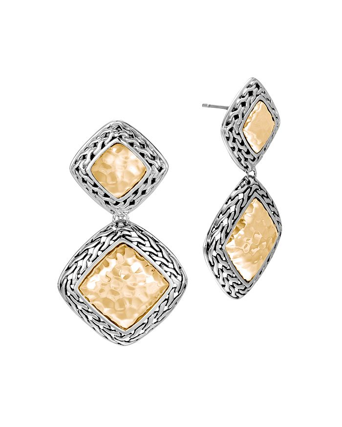 JOHN HARDY - Hammered 18K Yellow Gold and Sterling Silver Classic Chain Drop Earrings