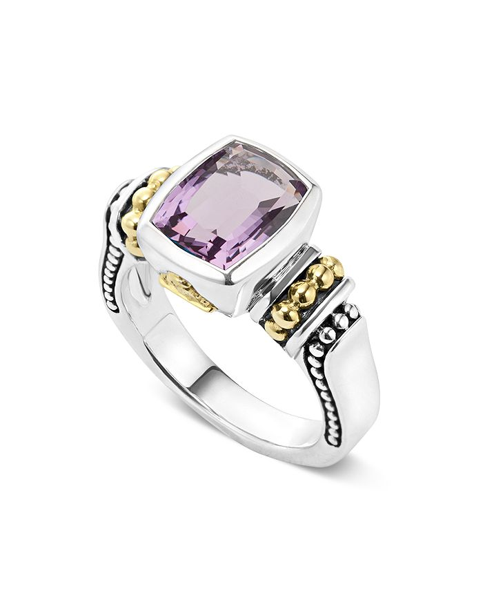 LAGOS - 18K Gold and Sterling Silver Caviar Color Small Amethyst Ring