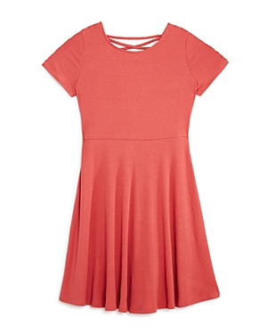 Aqua Girls' Crisscross Back Skater Dress, Big Kid - 100% Exclusive