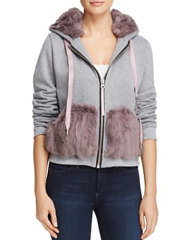 Jocelyn - Rabbit Fur Trim Sweatshirt